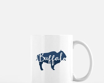 Buffalo mug | blue buffalo coffee mug | Buffalo, NY | Buffalo, New York | coffee mug | Buffalo gift | New York coffee mug | hand lettering