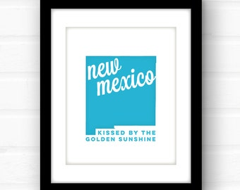 New Mexico art | New Mexico print | New Mexico state print | Santa Fe art | Albuquerque, NM | state wall art