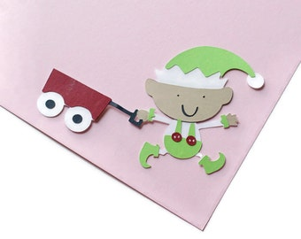 Elf with wagon die cuts - 4 dies (4 in.) - you choose your colors (C69)