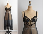 70s Black Magic Lace Slip Dress/ Wedding Slip/ Lace lingerie/  Nightgown/ Fishtale Slip/ Size S/M