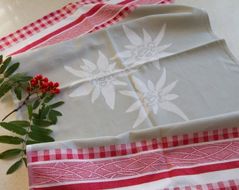Luxurious Jacquard Edelweiss Mountain Flower Kitchen Dish Tea Towel 100% Cotton Red Alps Made in Europe