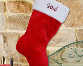 Personalized Red Plush Embroidered Christmas Stocking -  gfyS34619