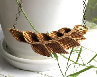 Copper shimmer origami leather necklace//petals//small