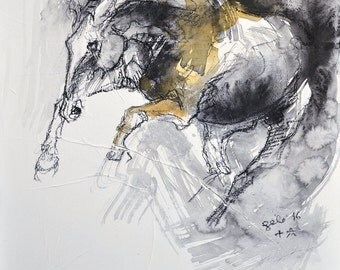 Canter Horse, Animal, Modern Original Fine Art, Watercolor and Black Chalk Painting of Horse