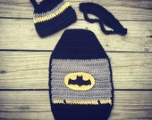 Newborn Baby Crochet BATMAN Cape, Mask, and Hat -- Super Cute Photo Prop