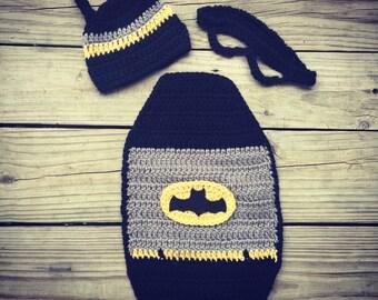 Newborn Baby Crochet BATMAN Cape, Mask, and Hat -- Super Cute Photo Prop