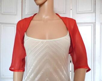 Red chiffon ELBOW length sleeve bolero/shrug/jacket  with satin edging