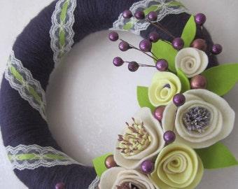 """Purple Elegant Yarn Wreath 12"""""""