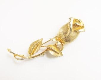 Vintage Rose Flower Brooch signed Prestige Gold Tone