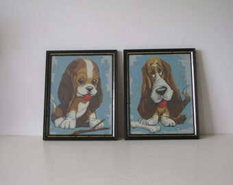 Vintage Hound Dog / Puppy Framed Art - set of two - Turquoise