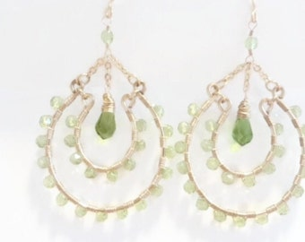 Peridot Crystals, Wire Wrapped, 14K Gold Filled, Large Chandelier Earrings, Boho, Modern, Fashion, Custom, Handmade Jewelry, Jewellery