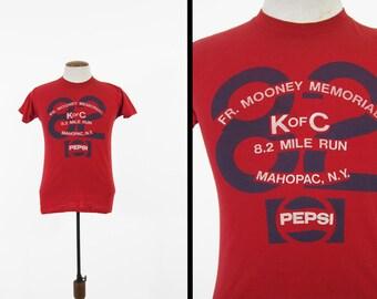 Vintage 1982 Marathon T-shirt Pepsi Mahopac NY Red Soft and Thin - Small / Medium