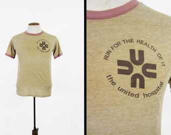 Vintage 70s Marathon Ringer T-shirt Heather Brown Paper Thin Faded Hanes - Small / Medium