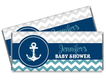 Nautical Baby Shower Candy Bar Wrappers - Nautical Theme Baby Shower Favors - Set of 12