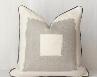 Geometric Pillow, Mitered Pillow, Tan Pillow, Bullseye Pillow, Contemporary Pillow, Nate Berkus Bucktown, Designer Pillow