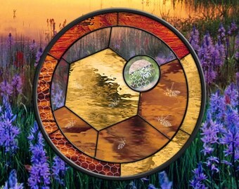 "Stained Glass Window Panel, Honey Bees, Bee, Honey comb, 19"" diameter round glass panel"