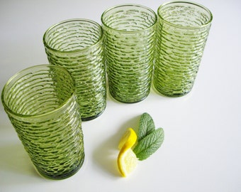 Vintage Tumblers, Soreno, Anchor Hocking, Drinking Glasses, Avocado Green, Mid Century, Textured Glass, Vintage Bar, Highball, Set of 4
