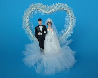Vintage wedding cake topper - heart wedding cake topper - bride and groom - something blue - blue heart - wedding decor - wedding figurine