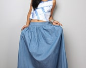 Maxi Skirt / Denim Skirt /  Soft Blue Denim Skirt : The Denim Collection