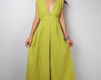 Maxi Dress - Long Olive Green dress : Oriental Secrets Collection II