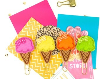 Planner Paper Clip Italian Ice Cream Cone | Magnet Bookmark Journal Marker | Summer Novelty Paper Clips Party Favor ideas. Ice Cream Parlor