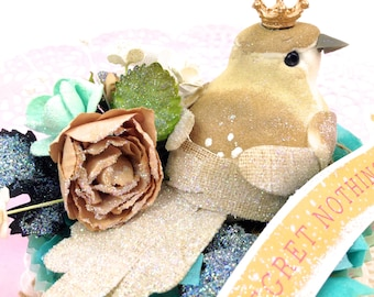 Shabby Chic Home Decoration - Regret Nothing Sugar Coated Glitter Bird's Nest Paper Cupcake Liner Ornament - OOAK Bird shabby chic gifts