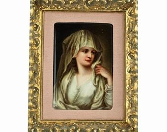 """Antique Signed Hand Painted Framed German Porcelain Plaque """"Vestalin after Kaufmann"""" by Sontag"""