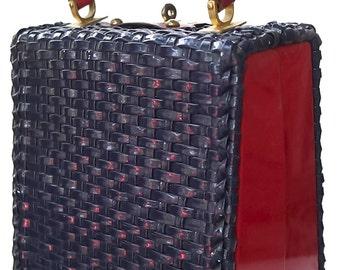 Vintage 50s60s LEWIS Wicker Handbag Purse