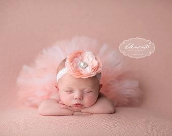 Beautiful Peaches and Cream Tutu and Headband