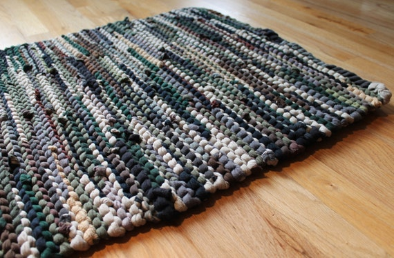 T Shirt Rag Rug Rustic Camo Military Brown Olive Drab Army Green Black Tan Masculine Earthy Neutral Rectangle 24 x 36 --US Shipping Included