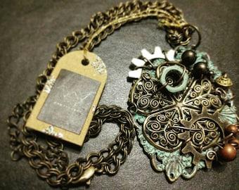 Steampunk Patina Brass Floral Medallion