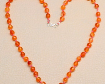 Natural Carnelian sterling silver  necklace ( #J1071)