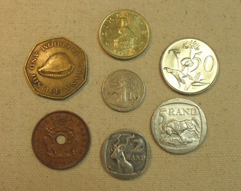 Africa 7 coin lot, interesting African coins mix, world coin group, elephant, antelope, rand