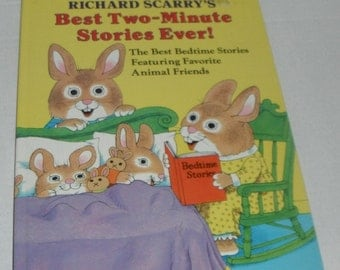 Vintage Richard Scarry's Best Two-Minute Stories Ever Hardcover Book