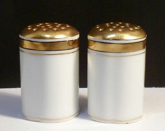 Salt Pepper Shakers White Gold Vintage Rosenthal Buchanan German Porcelain 1910s