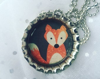 Hipster Fox Bottlecap Necklace