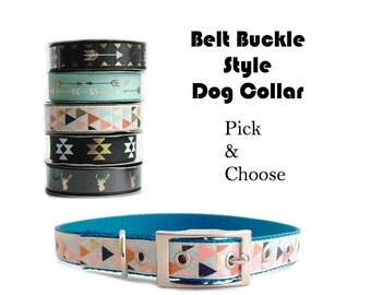 Belt Buckle Dog Collar, Pick and Choose, Not Personalized