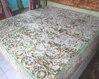 "Cut Velvet Bedspread, Italian, Sage and Ivory, 84w. x 92""l."