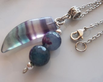 Gemstone Pendant- Tooth or Partial Crescent Shape-Purple and Green-Unique Point- Layering Chain Link Necklace (498)