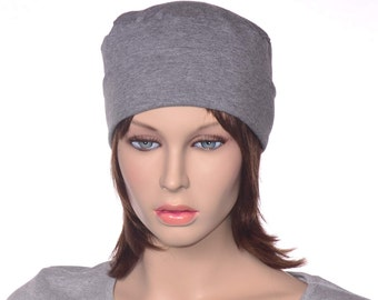 Gray Nightcap Cotton Jersey Knit Round Sleeping Hat Yoga Cap Scrub Hat Round Night Cap Chemo Hat