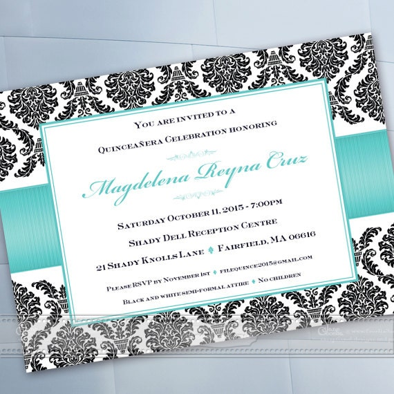 quineanera invitations, 16th birthday party invitations, wedding shower invitations printable, turquoise bridal shower invitations, IN443