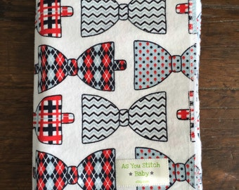 "Flannel Receiving Blanket. Extra Large for Swaddling - 40""x40"" Bowties."