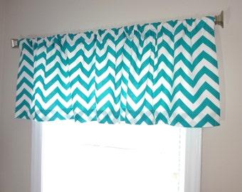 SALE Curtain Valance Topper Window Treatment 53x15 Turquoise/White Zig Zag Chevron Valance