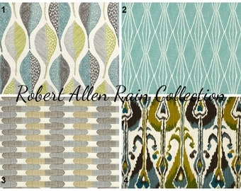 Robert Allen Rain Collection Pillow Covers Ikat Leaf Handcut Shapes Tiles Grey Green Blue Pillow Covers
