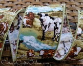 """Wired Ribbon, 2 1/2""""  wide, Cows, Farmland, Sky  - TEN YARD ROLL - """"Cow Ranch"""" Cotton Wire Edged Ribbon"""