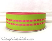 """Wired Ribbon, 1 1/2"""" wide, Green with Pink Stitched Stripe - THREE YARDS - Offray """"Jardin"""", Spring, Summer, Easter Wire Edged Ribbon"""