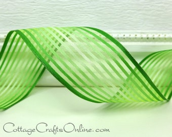 """Wired Ribbon, 1 1/2"""" wide,  Green Ombre Striped Semi-Sheer - THREE YARDS - Offray """"Confection"""" St. Patrick's Day, Spring Wire Edged Ribbon"""