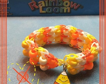 Candy Corn Bracelet Rainbow Loom Double Bead Ladder Rubberbands