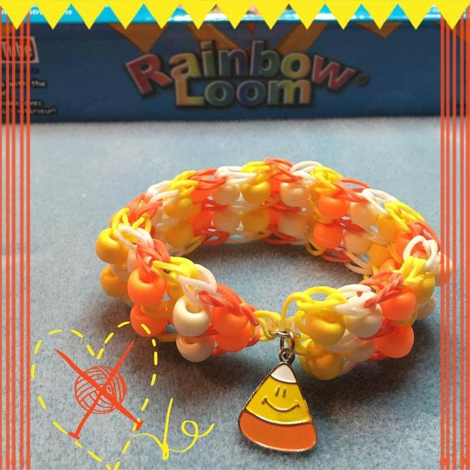Candy Corn Bracelet Rainbow Loom Double Bead Ladder