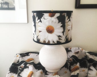 Lampshade with sunflower decor, custom lampshade, floral design drum lampshade, unique lighting, lamps and lampshades, lampshade for bedroom